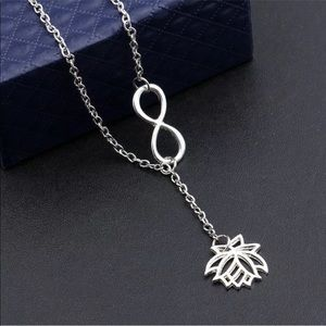 Jewelry - ♾ Infinity-Lotus Lariat Necklace in Silver Tone ♾